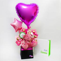 دسته گل و شکلات گل و تدی