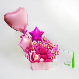 دسته گل و شکلات سرخابی